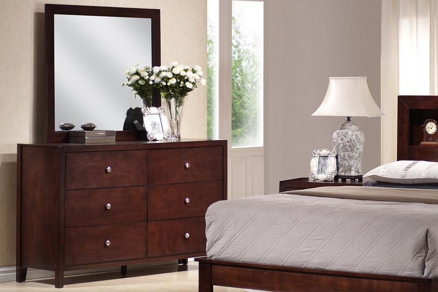 Baxton studio king 5 piece mahogany brown wood modern - Mahogany bedroom furniture contemporary ...