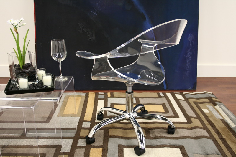 Elia Modern Clear Acrylic Swivel Chair Office Chair Click