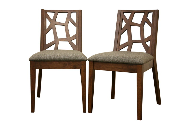 Jenifer Modern Dining Chair Set Of 2 Sleek Wood And Fabric