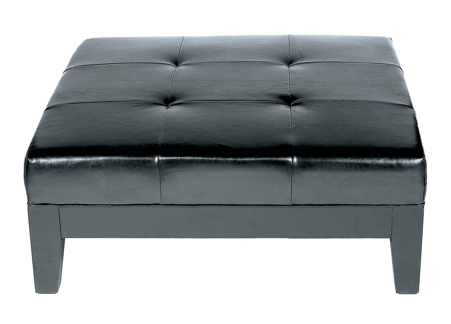 Black Ottoman Leather Cocktail Ottoman Modern Coffee Table