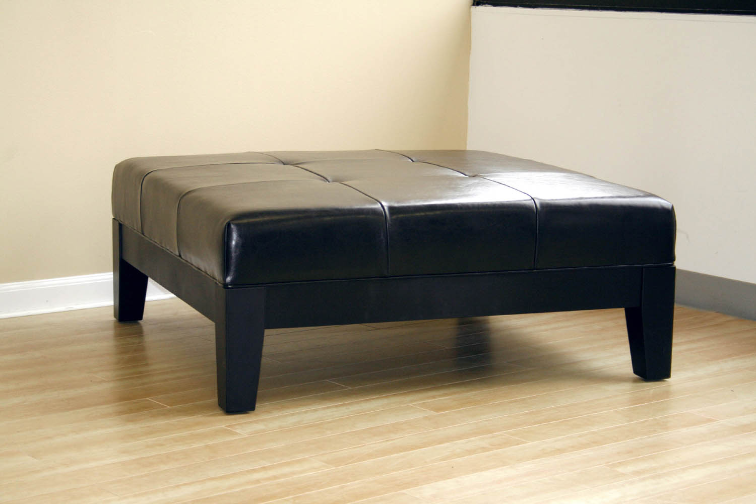 Black Ottoman Leather Cocktail Ottoman Modern Coffee Table Living Room Furniture Ebay