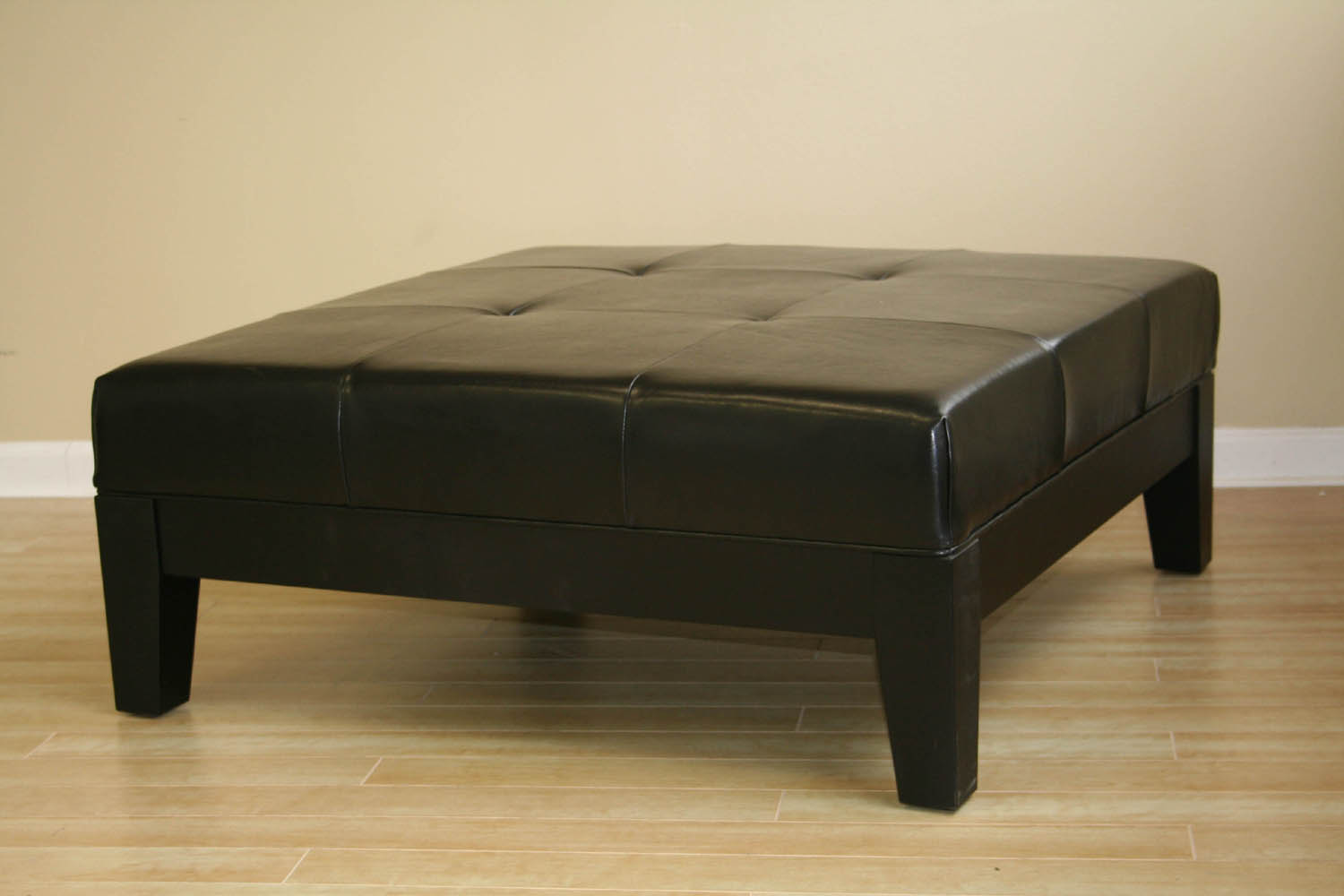 Black ottoman leather cocktail ottoman modern coffee table living room furniture ebay Black ottoman coffee table